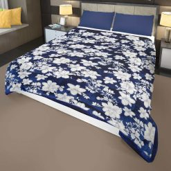 Blue and White Quilt  Double Bed Quilt( Rajai)  Microfiber Filling Heavy Weight  Floral Design Avioni