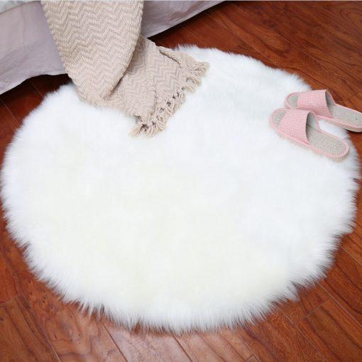 Round Rug - Shaggy Carpet - Snow White Lux Fur - 60 cm Dia By Avioni