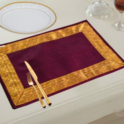 Avioni Ethnic Banarasi Design Table mats (Set of 6)- Purple
