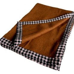 Buy Wool Winter Blankets Online – Brown Bonfire Check Border- set of 2 Blankets -MSF
