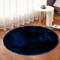 Solid Blue Rug|Round Carpet|Premium Medium Fur|60 cms Avioni
