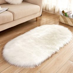 Shaggy Carpets –  Soft Fluffy Rug –  Snow White Premium Long Fur – 88 x 40 cm Oval Shape – Avioni Carpet