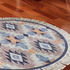 Avioni Persian Carpets For Living Room – Round -Blue and Beige