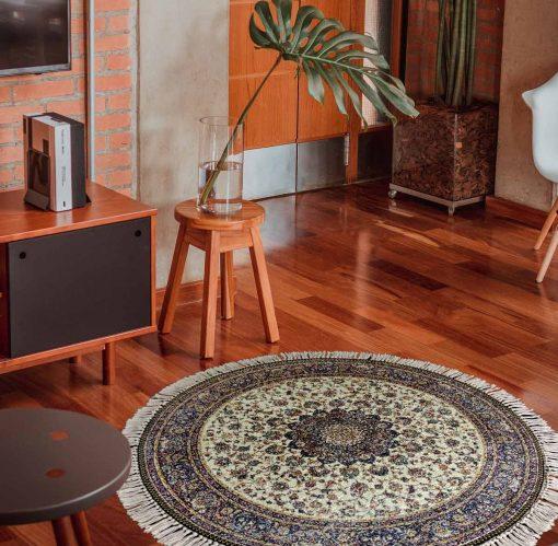 Avioni Persian Carpets For Living Room – Round -Beige