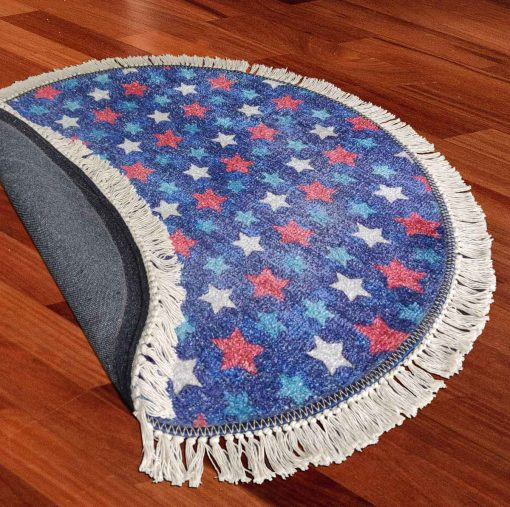 Avioni Carpet For Kids Room – Round Rug -Blue Stars