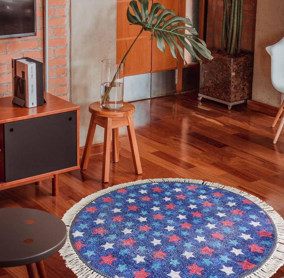 Picture of: Avioni Carpet For Kids Room Round Rug Blue Stars