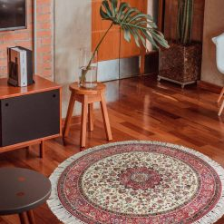 Avioni Persian Carpets For Living Room – Round -Red Floral