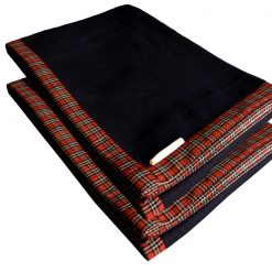 Best Wool Blankets |Blue Bonfire Red And Black Check Border|Set of 2 Blankets|MSF