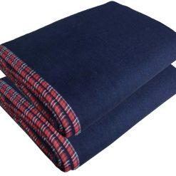 Woolen Blankets – Blue Bonfire Check Border- set of 2 Blankets – MSF