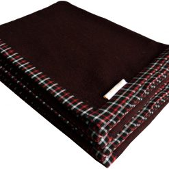 Buy Wool Blankets Online – Coffee Bonfire Red And Black Check Border-set of 2 Blankets – MSF