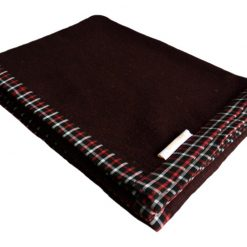 Woollen Blankets – Coffee Bonfire Red And Black -Check Border – MSF