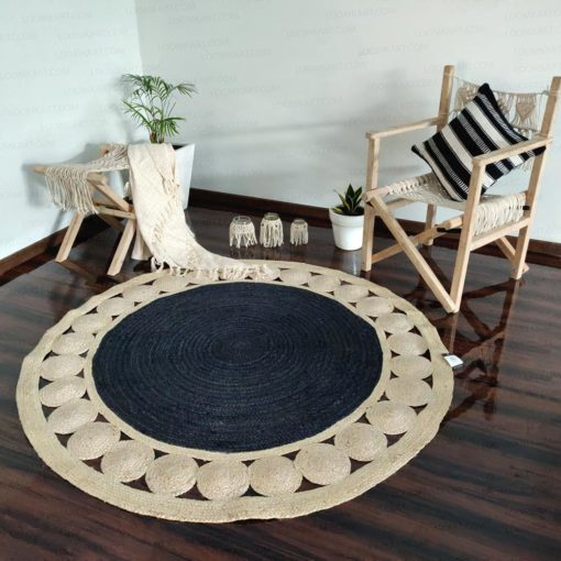 Jute Mat – Natural Rugs – Braided Area Rug – Grey  With Jute Border – Handmade & Unbleached – 5 feet Round – Avioni Premium Eco Collection-XXL SIZE