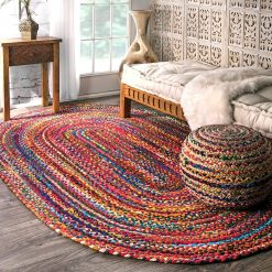 SAVE 5% MORE WITH OUR COTTON CHINDI OVAL CARPETS AND CHINDI/JUTE POUF – Round Rug  Handmade-  Avioni