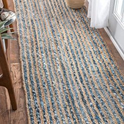 Denim/Jeans With Jute Handmade Braided Rugs| Runner for Bedside, Hallway or Kitchen |Avioni- Premium Collection-56×140 cm