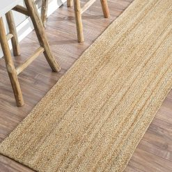 Natural Organic Jute Handmade Braided Rugs| Runner for Bedside, Hallway or Kitchen|Avioni- Premium Collection-56×140 cm