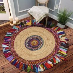 Jute With Chindi Flares Carpets – Braided Area Rugs – Round Rug  Handmade-  Avioni