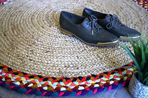 Jute And Cotton Chindi Border Carpets – Braided Area Rugs – Round Rug  Handmade –  Avioni