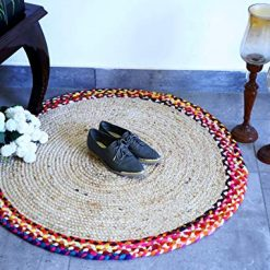 Jute And Cotton Chindi Border Carpets – Braided Area Rugs – Round Rug  Handmade –  Avioni