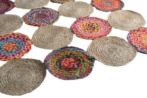 Jute And Chindi Mat – Natural Rugs – Braided Area Rug – – Handmade – 4 feet Round – Avioni Premium Eco Collection