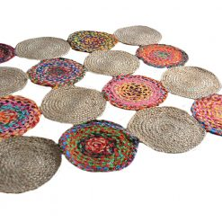 Jute And Chindi Mat – Natural Rugs – Braided Area Rug – – Handmade – 4 feet Round – Avioni Premium Eco Collection