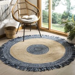 Republic Day Sale-Denim With Jute Designer Carpet – Braided Area Rugs – Round Rug  Handmade- Avioni