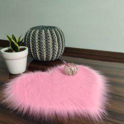 Shaggy Carpet – Heart Shaped Rug –  Premium Long Fur – 62 cm  – Avioni Carpets- Pink Colour (1+1- set of 2 )