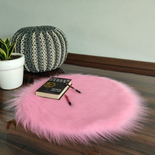 Shaggy Carpet  –  Premium Long Fur – 60 cm Round – Avioni Carpets- Pink Colour (1+1- set of 2 )