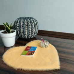 Shaggy Carpet – Heart Shaped Rug –  Premium  Fur – 62 cm  – Avioni Carpets- Peach Colour (1+1- set of 2 )