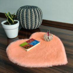 Shaggy Carpet – Heart Shaped Rug –  Premium  Fur – 62 cm – Avioni Carpets- Baby Pink Colour (1+1- set of 2 )