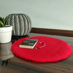 Shaggy Carpet  –  Premium  Fur – 60 cm Round – Avioni Carpets- Red Colour