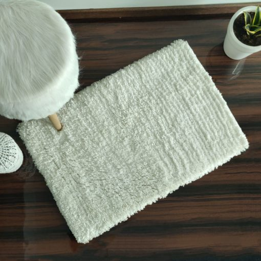 Shaggy Carpet | Washable | Hand Woven Super Luxurious Feel | Export Quality- White Colour