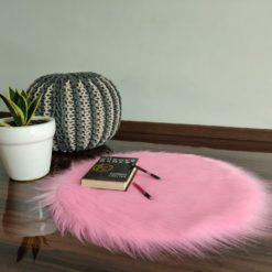 Shaggy Carpet  –  Premium Long Fur – 60 cm Round – Avioni Carpets- Pink Colour