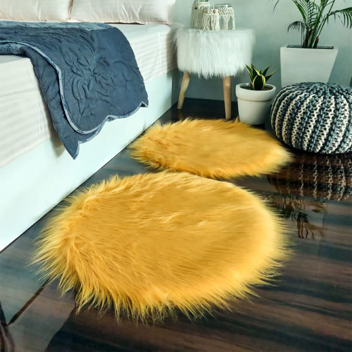 Shaggy Carpet –  Premium Long  Fur – 60 cm Round – Avioni Carpets- Brown Colour (1+1- set of 2 )