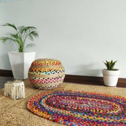 Bigmo Boho Braided Multi Chindi Rainbow Colors Natural Jute Pouf Ottoman