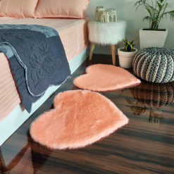 Shaggy Carpet – Heart Shaped Rug –  Premium  Fur – 62 cm – Avioni Carpets- Baby Pink Colour (1+1- set of 2 )