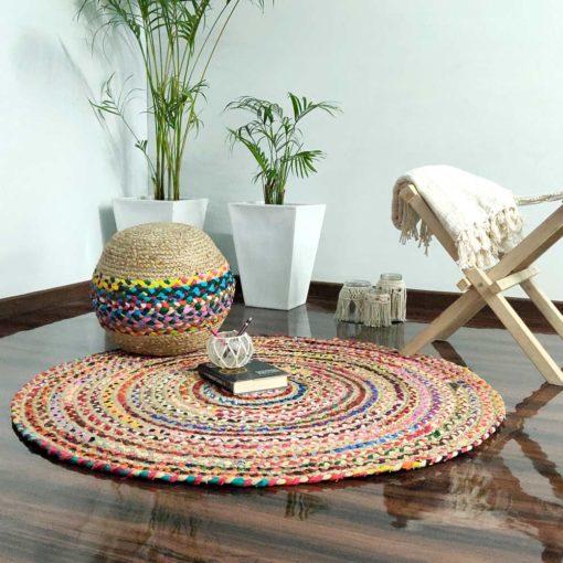 Bigmo Boho Braided Multi Chindi Rainbow Colors Natural Jute Pouf Ottoman