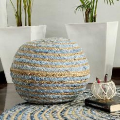 Bigmo Boho Braided Jeans And Natural Jute Pouf Ottoman