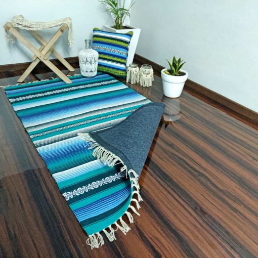 Avioni Cotton Carpets Handweaved With Exclusively on Loomkart (Blue Family-Multicoloured)- 92×152 cm (3 Feet X 5 Feet)