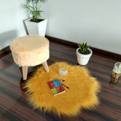 Shaggy Carpet –  Premium Long  Fur – 75 cm Flower Shaped Rug – Avioni Carpets- Brown Colour