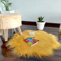 Shaggy Carpet –  Premium Long  Fur – 75 cm Flower Shaped Rug – Avioni Carpets- Brown Colour