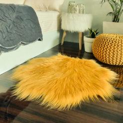 Shaggy Carpet –  Premium Long  Fur – 75 cm Flower Shaped Rug – Avioni Carpets- Brown Colour (1+1- set of 2 )