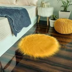 Shaggy Carpet –  Premium Long  Fur – 60 cm Round – Avioni Carpets- Brown Colour