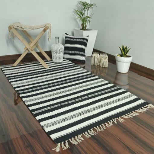Avioni Cotton Carpets Handweaved Exclusively on Loomkart (Black Family-Multicoloured)- 92×152 cm (3 Feet X 5 Feet)