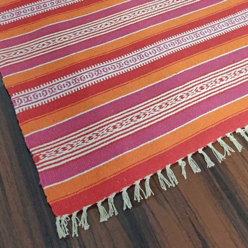 Avioni Cotton Carpets Handweaved Exclusively on Loomkart (Orange Family-Multicoloured)- 92×152 cm (3 Feet X 5 Feet)