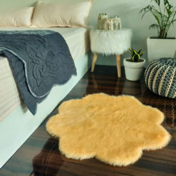Shaggy Carpet –  Premium  Fur – 75 cm Flower – Avioni Carpets- Peach Colour (1+1- set of 2 )