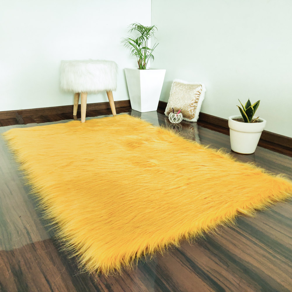 Soft Shaggy Rugs Fluffy Rug Brown Premium Long Fur