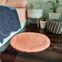 Shaggy Carpet  –  Premium  Fur – 60 cm Round – Avioni Carpets- Baby Pink Colour