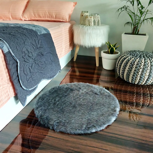 Shaggy Carpet  –  Premium  Fur – 60 cm Round – Avioni Carpets- Grey Color