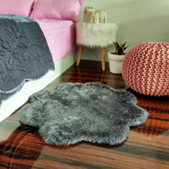 Shaggy Carpet –  Premium  Fur – 75 cm Flower – Avioni Carpets- Grey Colour