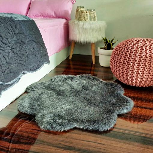 Shaggy Carpet –  Premium  Fur – 75 cm Flower – Avioni Carpets- Grey Colour
